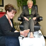 DJ Massages Judy Marshall's Foot