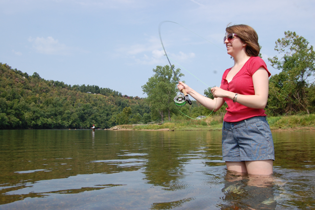 Harley White of Mountain Home fishes a hopper on the White River in Cotter