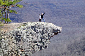 Corine Lord and Jan Badovinac on Hawksbill Crag.