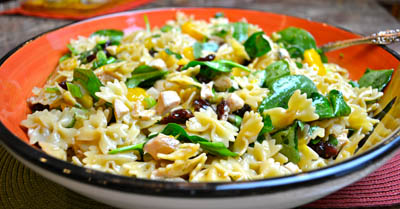 Spinach and Chicken Pasta with Teriyaki Vinagrette