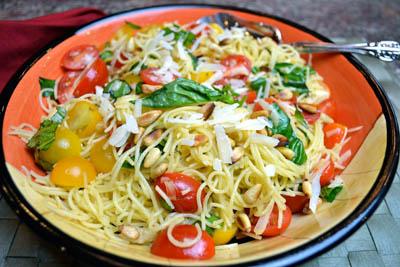 Basil, Garlic and Tomato  Angel Hair Pasta Salad