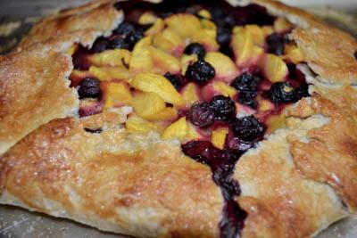 Blueberry and Peach Rustic Tart Dessert.