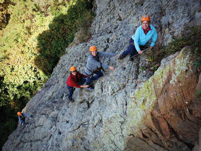 Kelly, Joyce W., and Joyce C. on their first climb.