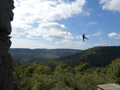 Joyce C. flying high on The Screamer zipline.