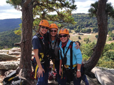 Kelly Householder-Giuliano, Joyce Wagoner and Joyce Cameron ready to zip.