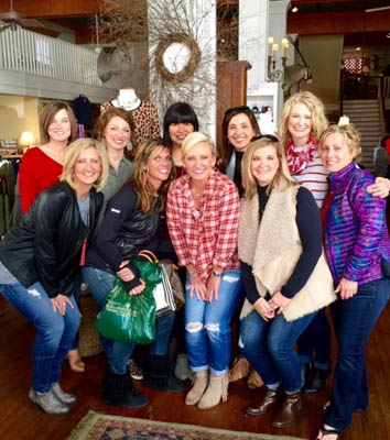 """The Girls"" — Right, back row:Dawn Schulz, Megan O'Neal, Terrie Elkins, Leslie Rikard, Johnnie Copeland; front row: Katie Combs, Robin Wright, Shana Hopper, Kristi Steelman, Joyce Cameron."