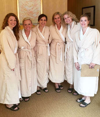 Spa time — Megan, Shana, Megan, Leslie, Katie, Johnnie, Kristi.