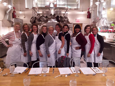 At the Viking Cooking School — Johnnie, Katie, Megan, Kristi, Shana, Robin, Leslie, Terrie, Dawn, Joyce.