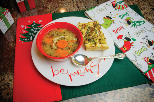 Italian Chicken Orzo Soup with Onion Cheese Bread