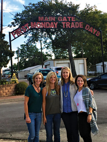Cara, Christina, Michelle, and Shaunda at the main gate.
